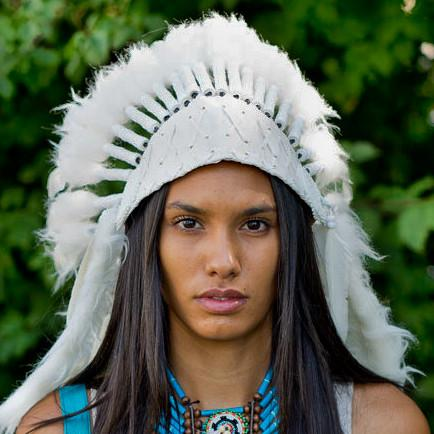 Blissful White Chief Headdress - 65cm