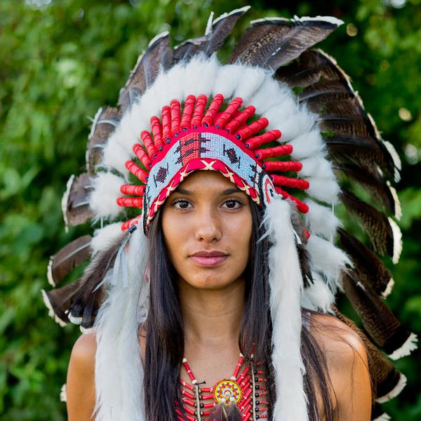 White Shaded Red Indian Headdress - 75cm