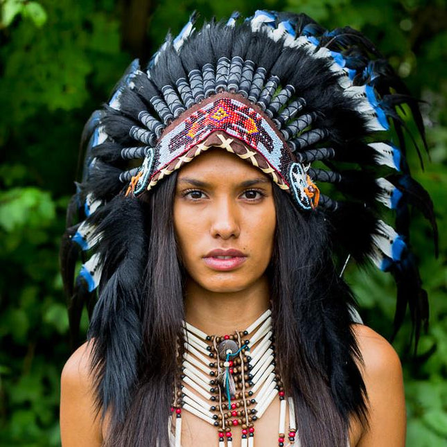 Blue Tips Native American Headdress - 75cm