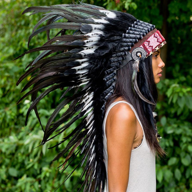 White-Black American Indian Headdress - 95cm
