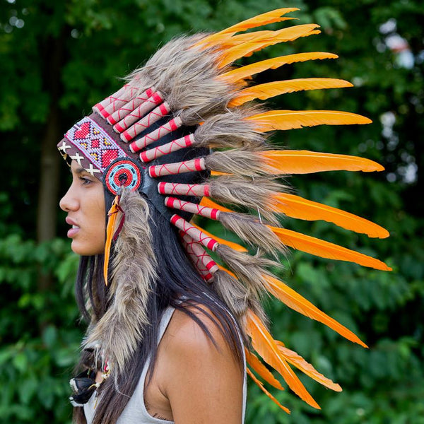 Light Orange Chief Headdress - 65cm