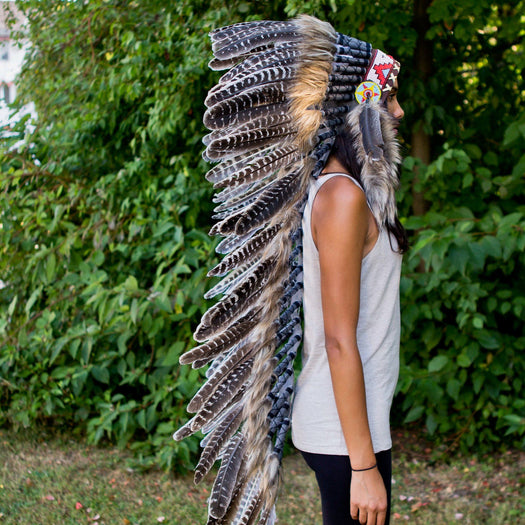 White Shaded War Bonnet - 130cm