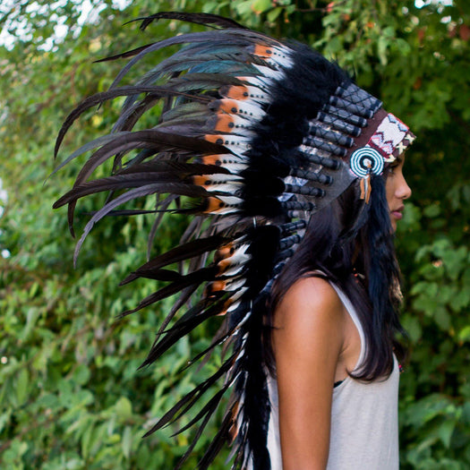 Brown Tips Indian Headdress - 95cm