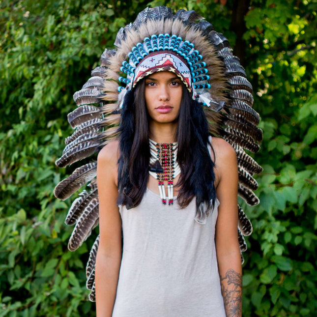 White Shaded Indian Headdress - 95cm