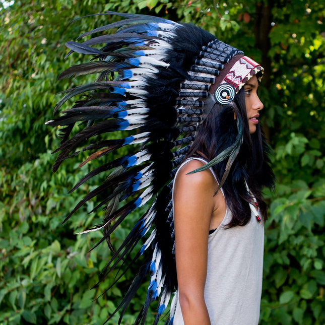 Blue Tips Indian Headdress - 95cm