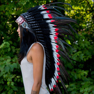 Red Tips Indian Headdress - 95cm