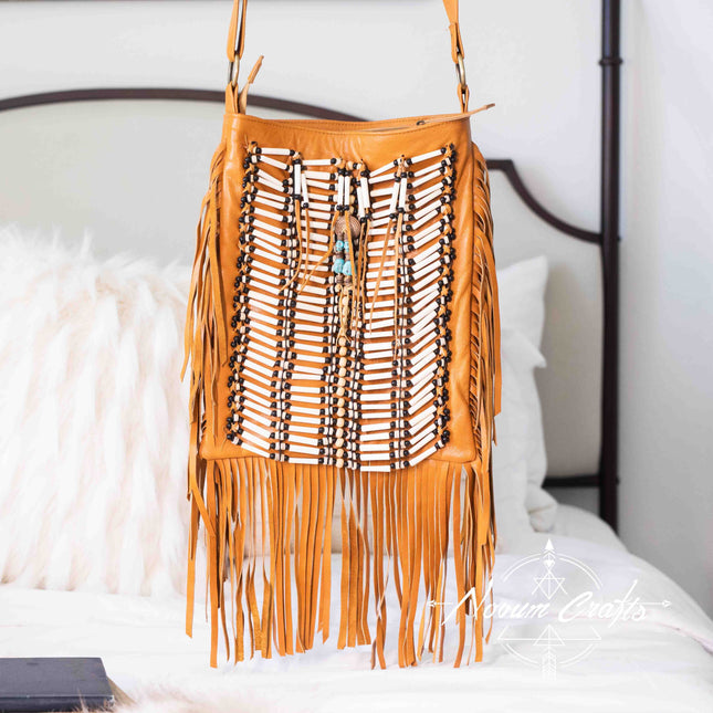 Tan-Colored Leather-Bag With Fringes - Large & Square