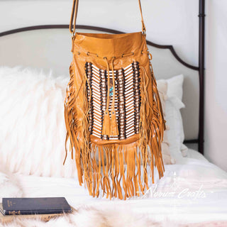 Tan-Colored Leather Bag With Fringe Detail - Round & Large