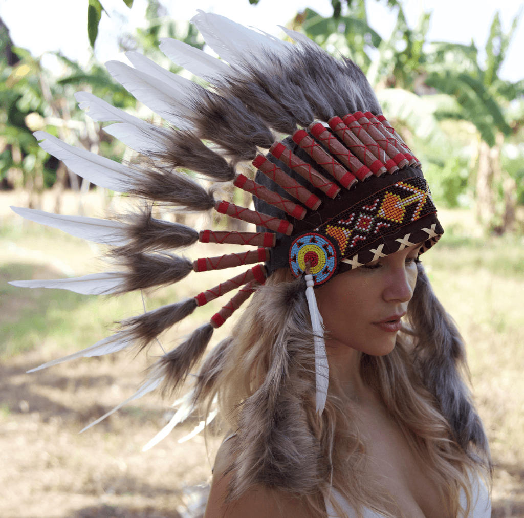 White Indian Chief Headdress - 65cm