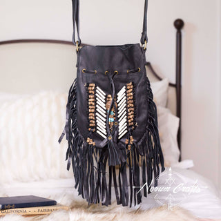 Black Leather Bag With Fringe Detail - Small & Round