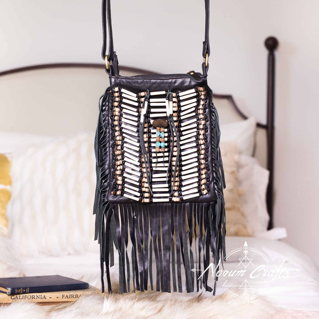 Black Leather Bag With Fringe Detail - Small & Square
