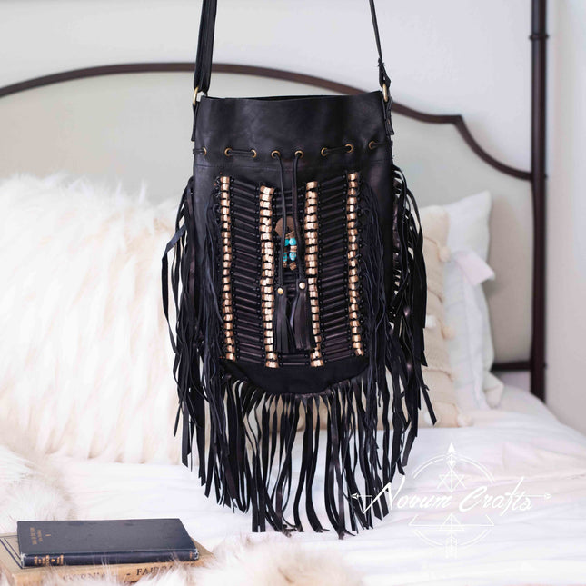 Black Leather Bag With Fringe Detail - Large & Round