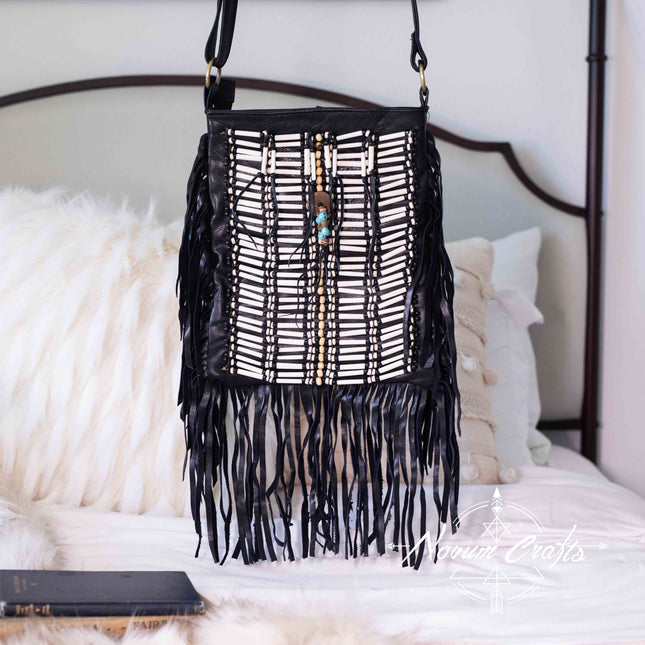 Black Leather Bag With Fringe Detail - Large & Square