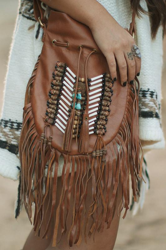 Brown Leather-Bag With Fringes - Small & Round
