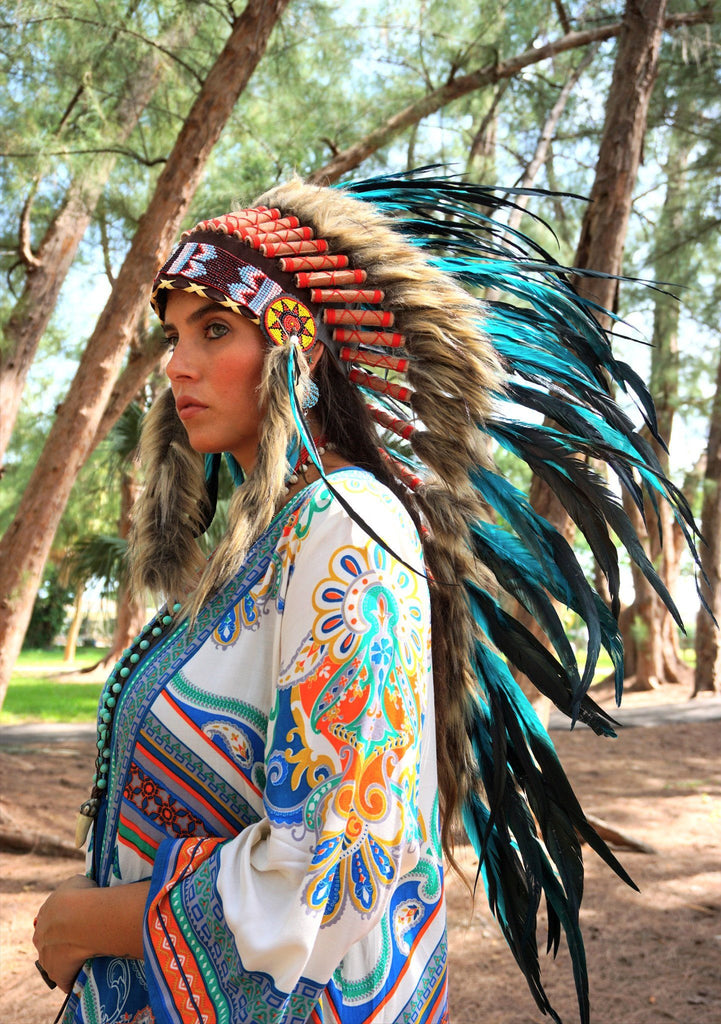 Aqua Indian Headdress - 95cm