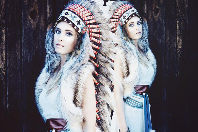 White Indian Headdress - 90cm