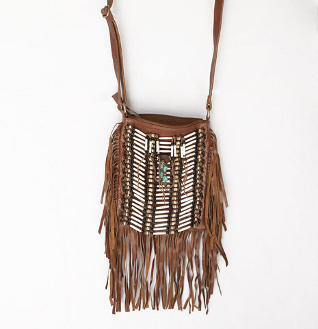 Dark-Brown Leather-Bag With Fringes - Small & Square