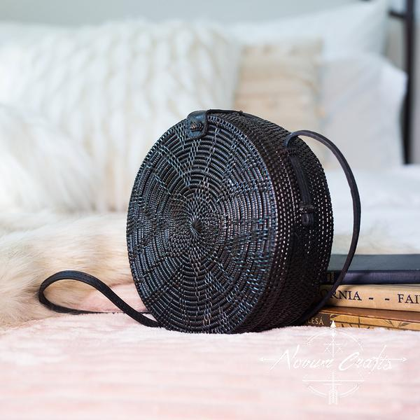 Round Rattan Bag (Medium) - Black Sling
