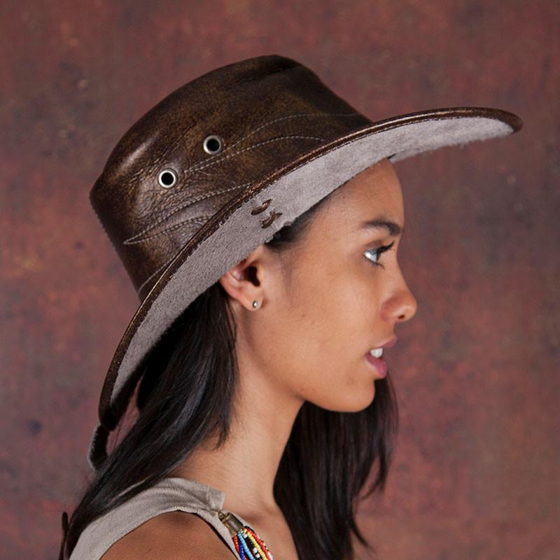 Dark-Brown Leather Cowboy Hat