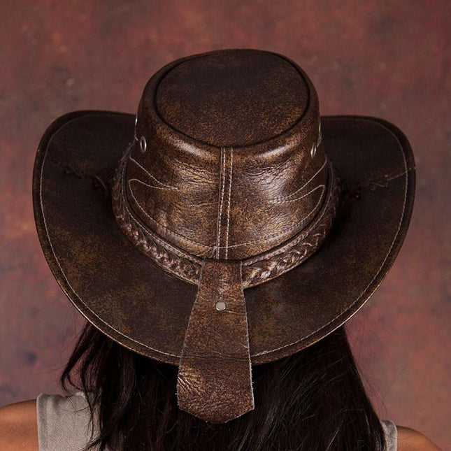 Dark Brown Leather Cowboy Hat