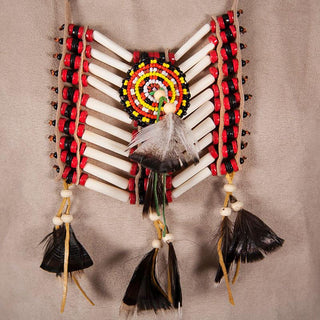 Beige-Red Breastplate With Feathers