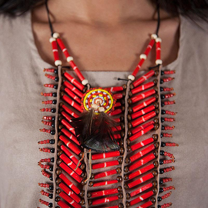 Red, Long Breastplate With Feathers