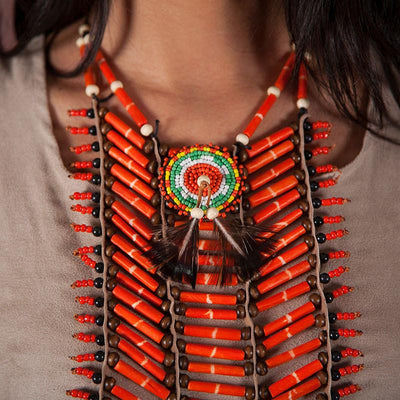 Orange, Long Breastplate With Feathers