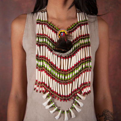 Multicolored Maxi-Breastplate With Teeth