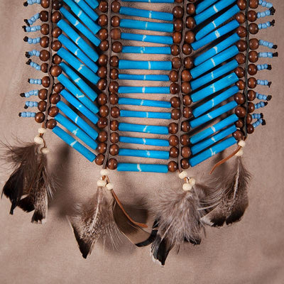Long Blue Breastplate With Feathers