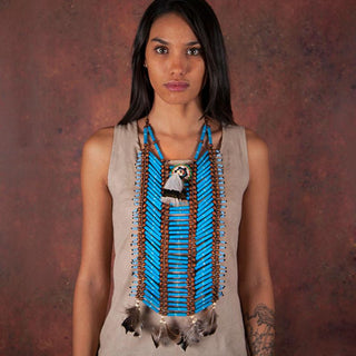 Blue, Long Breastplate With Feathers