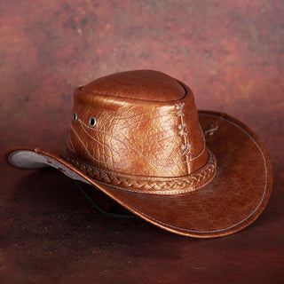 Copper-Brown Leather Cowboy Hat