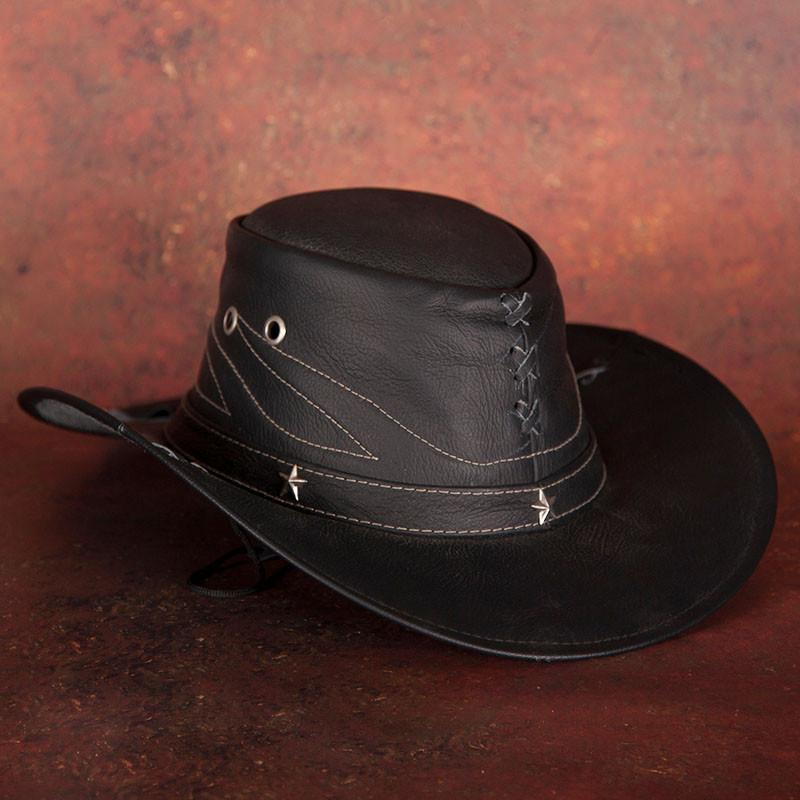 Black Leather Cowboy Hat