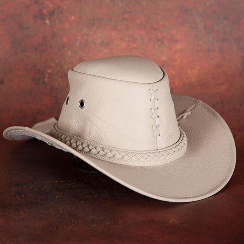Beige Leather Cowboy Hat