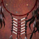 Dark-Red Dreamcatcher With Feathers