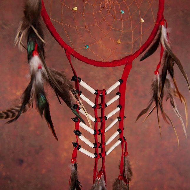Red Dreamcatcher With Feathers