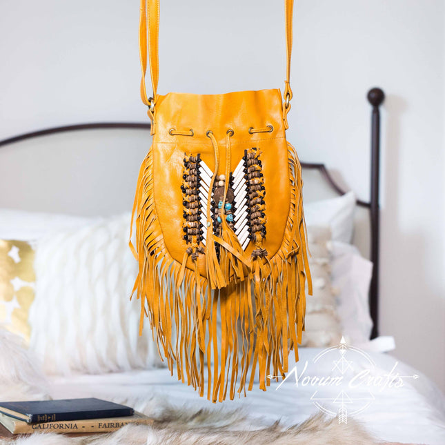 Tan-Colored Leather-Bag With Fringe Detail - Small & Round