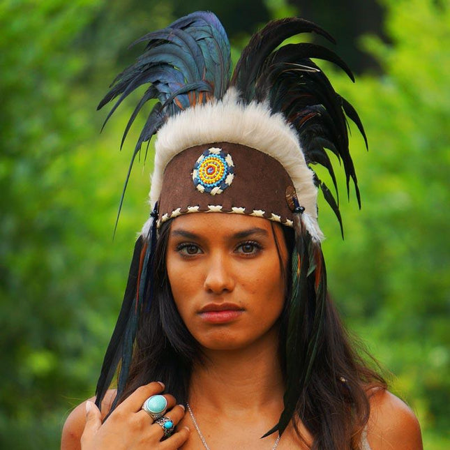 Black Feather Headdress - Indian Headdress