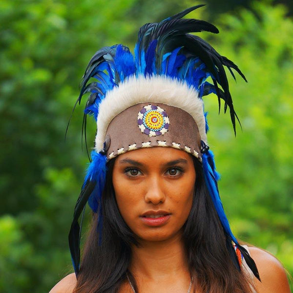Royal Blue Feather Headdress by Novum Crafts