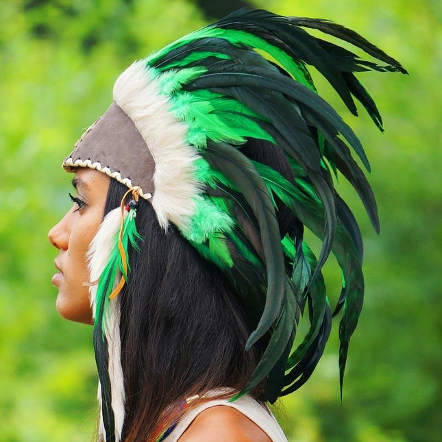 Green Feather Headdress by Novum Crafts