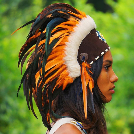 Orange feather headdress by Novum Crafts