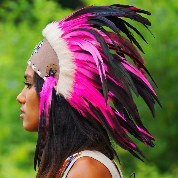 Pink feather headdress by Novum Crafts