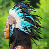 Turquoise Feather Headdress by Novum Crafts