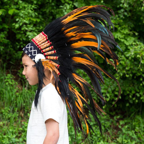 Kids Headdress - Black & Orange