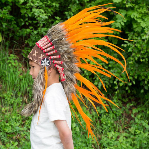 Kids Headdress - Hot Orange