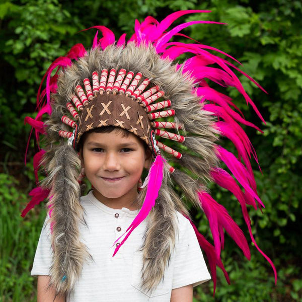 Kids Headdress - Hot Pink