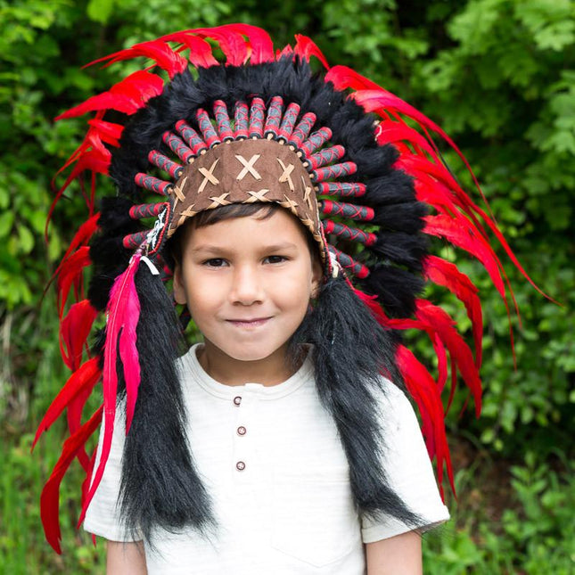 Kids Headdress - Red & Black