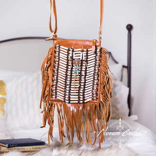 Light Brown Leather Bag With Fringes - Small & Square