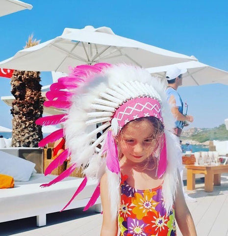 Kids Headdress - White & Pink