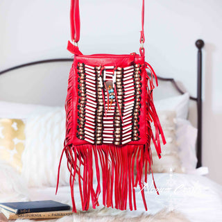 Red Leather Bag With Fringe Detail - Small & Square