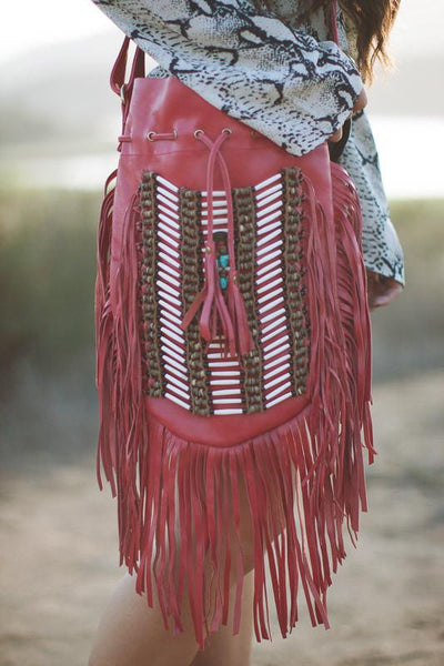 Red Leather-Bag With Fringes - Large & Round